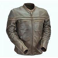 Sturgis Monza invecchiato marrone pelle di vacchetta CE, con giacca da motociclista, Uomo, Brown, Lrg