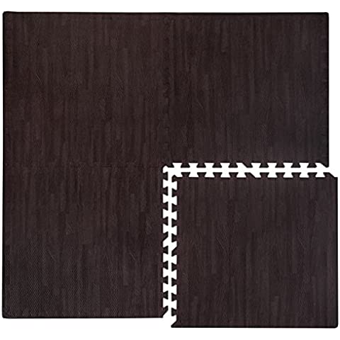 Alfombra Puzle eyepower de espuma EVA | Estera Rompecabeza de gomaespuma | 4 piezas 60x60cm + 8 marcos | ilimitadamente extensible | blando ideal para caminar descalzo jugar tenderse yoga judo decor | Color de la madera marrón