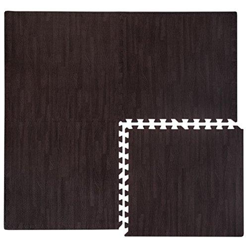 eyepower Puzzlematten in Holz-Optik Laminat-Muster 4 Matten ca. 60x60cm mit 8 Abschlussleisten...