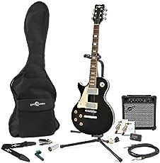 New Jersey E-Gitarre Linkshändermodell in schwarz - mit Komplettausstattung
