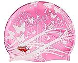 ranraner Kinder Badekappe, lustiges Cartoon-Design, für Jungen und Mädchen im Alter von 2–9 Jahren, Wasserdichte Ohrenschützer aus Silikon M Pink Butterfly