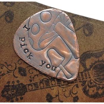 'I Pick You' Mushroom Artisan Copper Art Personalised Custom Handmade Stamped Guitar Plectrum