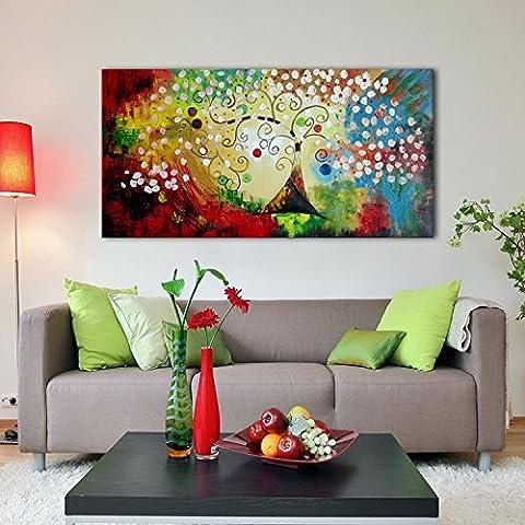 IPLST@ Pintura moderna decoración del hogar del paisaje del extracto del oro aceite del árbol del dinero en lienzo, pintado a mano etiquetas de la pared del arte -20x40inch (Sin marco, sin bastidor)