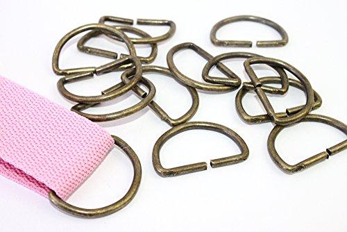 D-Ringe 10 Stück 30x17x2,8mm Halbrundringe Stahl. Farbe: altmessing