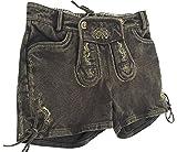 By Johanna Fesche Trachtenjeans Trachten Jeans Damen Hotpants Trachtenhose Lederhosen Optik Kurz Waschbar Stonewashed Baumwolle Braun Used-Look. (34)