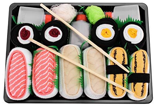 Rainbow Socks - Donna Uomo Calzini Sushi Tamago Butterfish Salmone 2x Maki - 5 Paia - Taglia UE 36-40