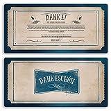 (20 x) Danksagungskarten Vintage Retro Danksagung Dankeskarte Ticket Danke Karte