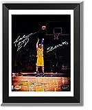 ASENER Los Angeles Lakers Kobe Bryant Letzten Schuss Wall Art Decor Autogramm Jersey Bilderrahmen mit Mehreren Unterschriften,10Inch