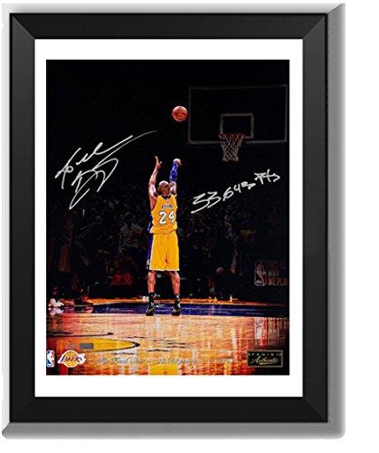 ASENER Los Angeles Lakers Kobe Bryant Letzten Schuss Wall Art Decor Autogramm Jersey Bilderrahmen mit Mehreren Unterschriften,10Inch -