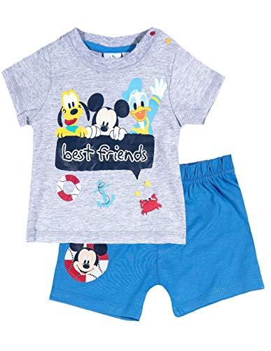 23ee2110a88 Ensemble Short et T-Shirt bébé garçon Mickey Gris Bleu de 3 à 24mois