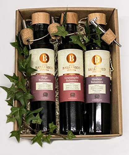 Greenomic 3-er Geschenkset Balsamico (3 x 250 ml) im Geschenkkarton Feige, Himbeer, Granatapfel