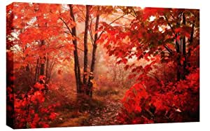 LARGE AUTUMN FOREST CANVAS PICTURE mounted and ready to hang 34 x 20 inches (86 x 52 cm) by Canvas Interiors
