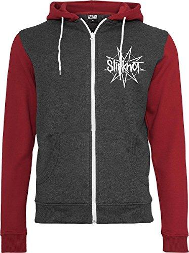 Slipknot Goat Star Logo Sweat à capuche zippé rouge/gris rouge/gris