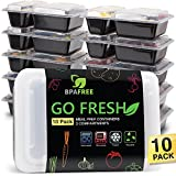 Meal Prep Containers [10-Pack] 2 Compartments, Reusable Food Containers with Lids for Portion Control and Food Storage – BPA free, Stackable, Microwave, Freezer, Dishwasher Safe Bento Boxes