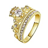 Hanessa Goldener Ring, Prinzessin, Krone Vergoldet, Strass-Stein Damen-Schmuck Geschenk für die Ehe-Frau / Freundin / Frauen
