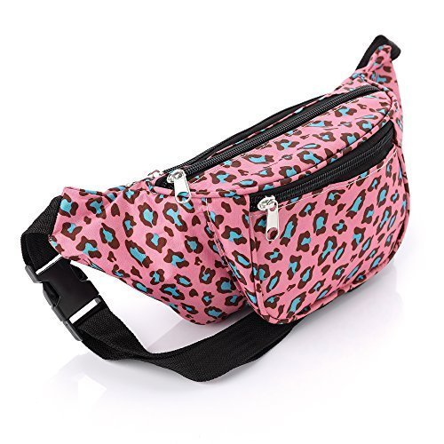 Womens/Girls Pink Green Leopard Print Bumbag, Lightweight With Zip Pocket Compartments & Adjustable Strap by Amber