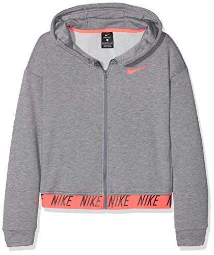 Nike Mädchen G NK Dry Hoodie FZ CORE Studio Sweatshirt, Grau (Carbon Heather/Racer pink), M (Nike Mädchen Hoodie)
