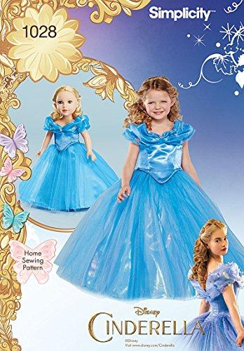 Simplicity 1028Größe A Disney Cinderella Kostüm für Kind und 18Puppe Schnittmuster, Mehrfarbig