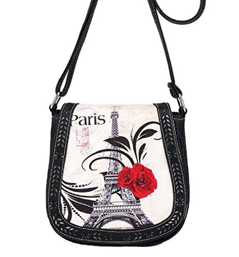 Preisvergleich Produktbild Tongshi Drucken Paris Eiffel Turm Umhängetasche Retro aushöhlen Umhängetaschen Messenger Taschen tonnenförmig Abdeckung (schwarz)