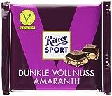 RITTER SPORT Dunkle Voll-Nuss Amaranth (10 x 100 g), Vegane Schokolade, mit ganzen Haselnüssen und Amaranth verfeinert, Halbbitterschokolade