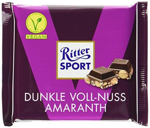 (RITTER SPORT Dunkle Voll-Nuss Amaranth (10 x 100 g), Vegane Schokolade, mit ganzen Haselnüssen und Amaranth verfeinert, Halbbitterschokolade)