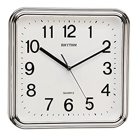 Watching Clocks Rhythm Square Basic Wall Clock with Silent Movement