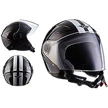MOTO U52 Racing Black · Retro Biker Urban Bobber Chopper Cruiser Piloto Moto motocicleta Scooter Urbano Casco Demi-Jet Vintage Mofa Helmet Vespa · ECE certificado · visera incluido · incluyendo bolsa de casco · Negro · XS (53-54cm)