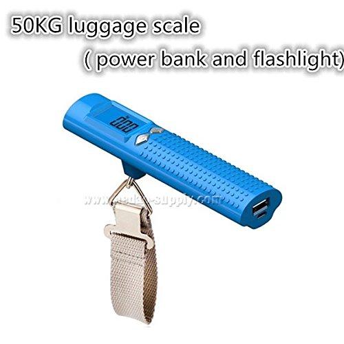 Gepäck Maßstab 50kg Gewicht Kapazität mit Taschenlampe, USB und jedes Android Handy Laden, für | Tasche | Koffer | Reisen | Digital | Power Bank + Gratis 1Jahr Garantie asseio, plastik, blau, 15.3 x 3.5 x 3.9 cm (Gepäck 50)