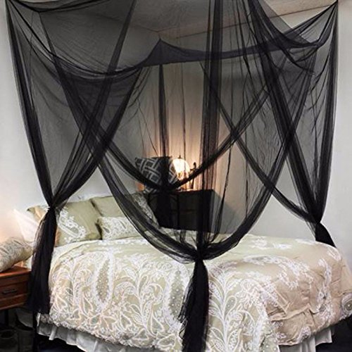 Todaytop Moskito Vorhang Vier Seiten Öffnungsart übergroßen Hause Praktische Moskitonetze für Bett Baldachin, Zelt (Schwarz) -