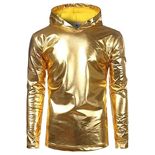 Herren 70er Jahre Dancing King Pailletten Disco Glossy Shirt Kostüm mit Kapuze Langarmhemden mit Kapuze Langarm T-Shirt Clubwear Halloween/Cosplay,Gold,M (Kapuzen Langarm Kostüme)
