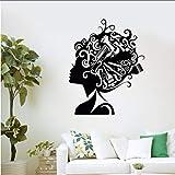 myvovo Mur Art Vinyle Sticker Autocollant Coiffeur Beauté Outils Fille Visage Coiffure Toilettage Salon Spa Barbier Décor Ciseaux Peigne 42 * 52cm