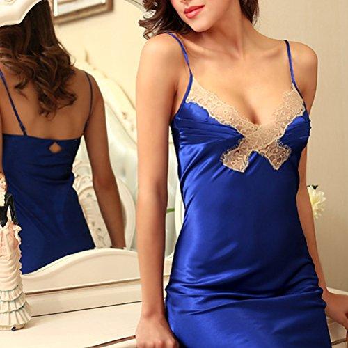 Zhhlaixing Women's Summer Lingerie Comfortable Nightwear Lace Skirt Sleepwear DQ117 Royal Blue