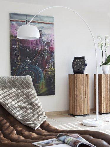 Steh-Lampe weiß lackiert mit Dimmer und Fuß aus Marmor 205x170 cm | Big Mess | Steh-Leuchte groß mit kugelförmigen Lampenschirm | Bogen-Lampe für Wohnzimmer 205cm x 170cm