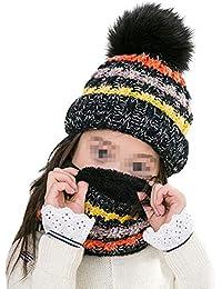 Amorar Enfants Hiver Épais Bonnet Bonnet Écharpe Set Fille Bonnet   Cercle  Écharpe Cou Warmer Suit Polaire Boucle Écharpe Bonnet… 5ef9e8b1514