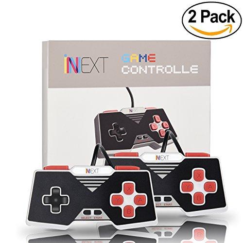 iNNEXT 2x Retro USB Gamepad para Súper Nintendo SNES controlador Mando de juegos Controller para PC / Mac( Rojo)