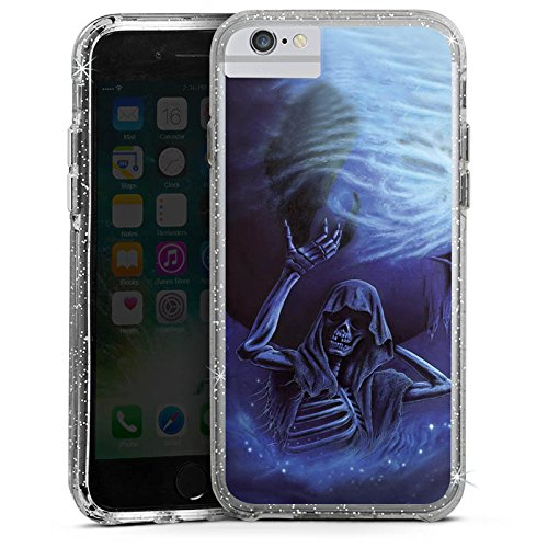 Apple iPhone 6s Bumper Hülle Bumper Case Glitzer Hülle Bones Totenkopf Skull Bumper Case Glitzer silber