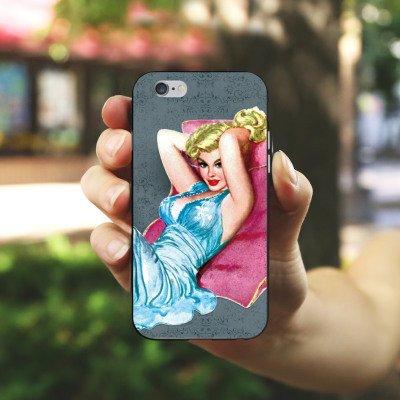 Apple iPhone X Silikon Hülle Case Schutzhülle Pinup Girl Sexy Silikon Case schwarz / weiß