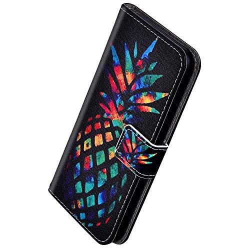 Herbests Kompatibel mit Samsung Galaxy A20 / A30 Handyhülle Hülle Flip Case Vintage Luxus Muster Leder Schutzhülle Klappbar Bookstyle Brieftasche Ledertasche mit Magnet,Ananas