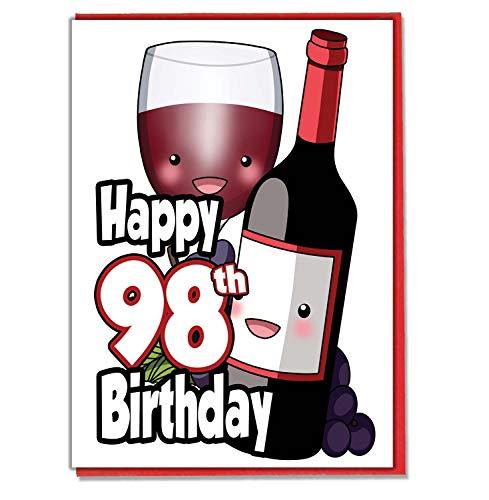 Vetro e bottiglia di vino rosso-98º biglietto di compleanno-donna-da uomo-Daughter Son-Friend-marito moglie-Brother-Sister