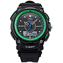 OHSEN YI-AD1209-6 LCD Date Day Stopwatch Dual Core Mens Sport Rubber Watch Green