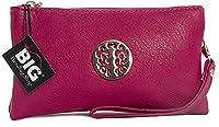 Big Handbag Shop Womens Faux Leather Mini Pouch Purse (Hot Pink)