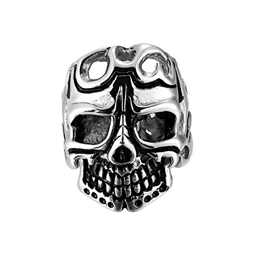 Adisaer Edelstahl Herren Ring Hohl Schädel KopfSilber Schwarz Ringe Größe 60 (19.1) Für Männer Ring Gothic