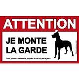 immo-panneaux.com Panneau Attention AU Chien : Je Monte la Garde - Plaque/Pancarte Attention au Chien - 15 x 9 cm