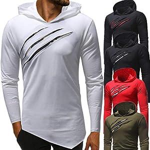 UJUNAOR Herren Mit Kapuze Camouflage Stitching Hoodie Langarm Shirt Top Bluse