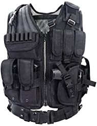 YAKEDA® chaleco de la policía, chaleco militar, chaleco ejército, las acciones de color caqui / color de bosques Sello Chaleco campo chaleco chaleco táctico militar --1063 (negro)