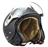 SOXON SP-325-MONO Night · Pilot Chopper Mofa Helmet Retro Vespa-Helm Biker Bobber Vintage Scooter-Helm Roller-Helm Jet-Helm Cruiser Motorrad-Helm · ECE