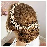SWEETV Roségold Stirnband Brautschmuck Hochzeits Haarschmuck Kopfbedeckung Perlen Weinrebe Diadem