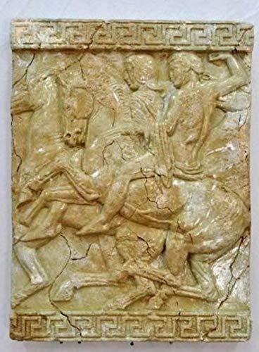 Pared de imagen 3d Relief de meandro patrón Diseño antiguo mármol Jinete...