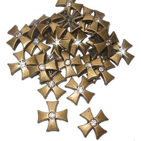 Cruz de bronce Nailhead del perno prisionero del grano Chaton gótico hierro-en Punk arte del Metal T-Shirt transferencia