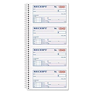Adams Business Forms - Two-Part Rent Receipt Book, 2 3/4 x 4 3/4, Two-Part Carbonless, 200 Forms - Sold As 1 Each - Check-offs for cash, check or money order.